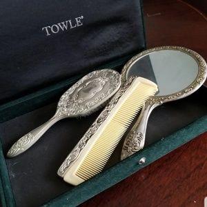 Silver vintage comb brush set